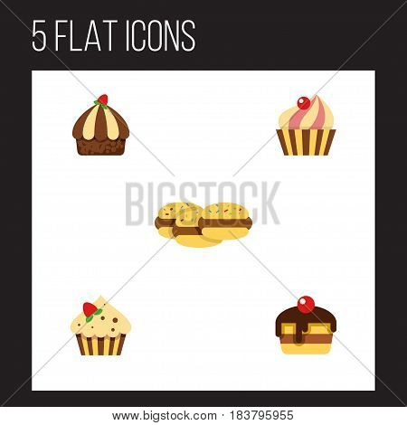 Flat Cake Set Of Sweetmeat, Cupcake, Confectionery And Other Vector Objects. Also Includes Dessert, Sweetmeat, Cupcake Elements. poster