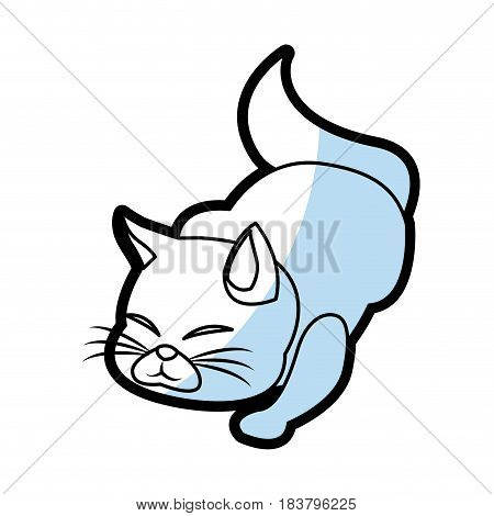 cat animal pet feline flat linear vector illustration