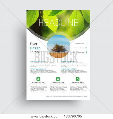 Flyer Format A4 Format With Round And Semicircular Elements For A Photo.