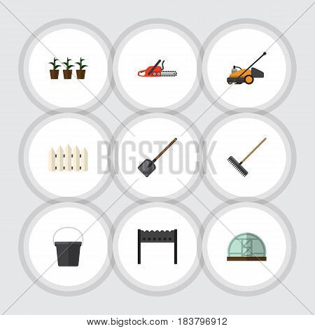 Flat Farm Set Of Flowerpot, Barbecue, Shovel And Other Vector Objects. Also Includes Saw, Barrier, Rake Elements.