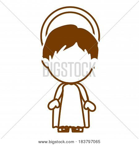 brown silhouette of faceless image of child jesus vector illustration