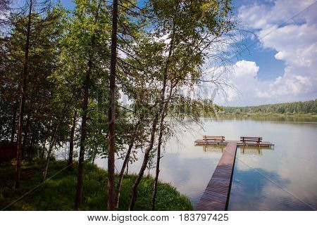 beautiful landscape view of a lake in the summer