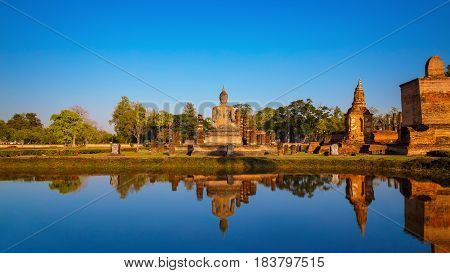 Sukhothai, Thailand - January 16 2017: Wat Mahathat Temple In The Precinct Of Sukhothai Historical P