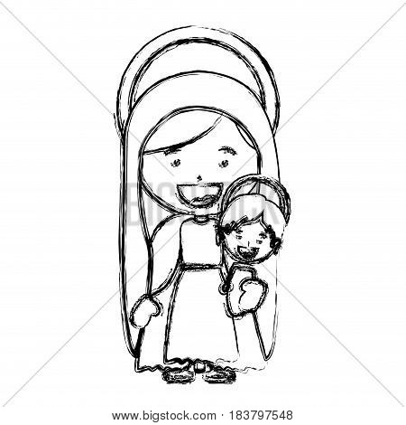 monochrome blurred silhouette of saint virgin mary with baby jesus vector illustration