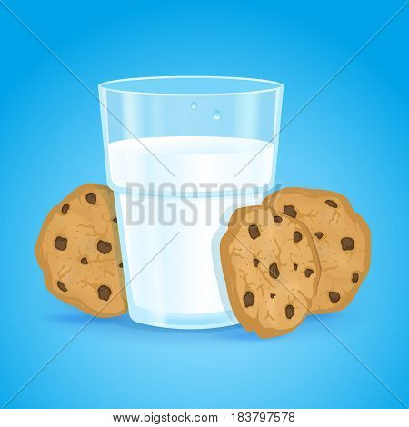 Realistic glass with milk and cookies with chocolate chips on a blue background. Fresh delicious vitamin and healthy breakfast for children and adults. Oatmeal baking. Protein cocktail. Vector.