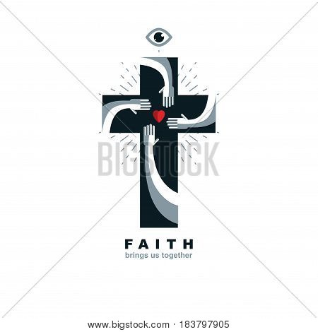 True Belief and Religion brings people together. Christian Cross true belief in God vector symbol Christianity religion icon.