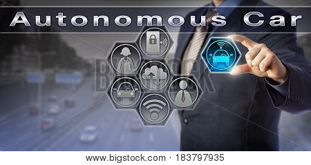 Blue chip automobile design manager is simulating an Autonomous Car scenario. Automotive industry metaphor and information technology concept for driverless cars and the internet of things.