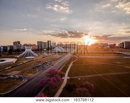 Sunset in Brasilia, Brazil showing city center and Catedral building