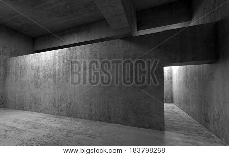 Abstract empty room concrete interior walls and girders 3d render illustration