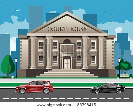 Front view of court house. Flat style modern vector illustration.