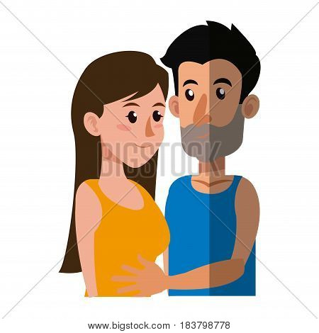 embracing couple relationship together shadow vector illustration