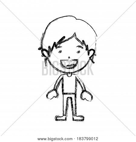 monochrome blurred silhouette of smiling boy standing with short hair and informal clothes vector illustration