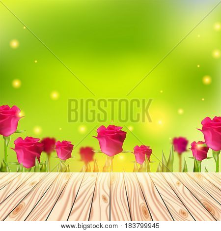 Wood deck, Summer background with wooden table. Empty floor over roses and green bokeh. Abstract vector illustration. Blurred spring garden design.