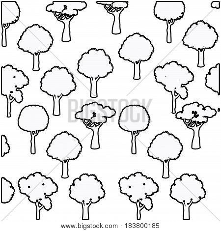 tree different foliage plant botanical seamless pattern design outline vector illustration