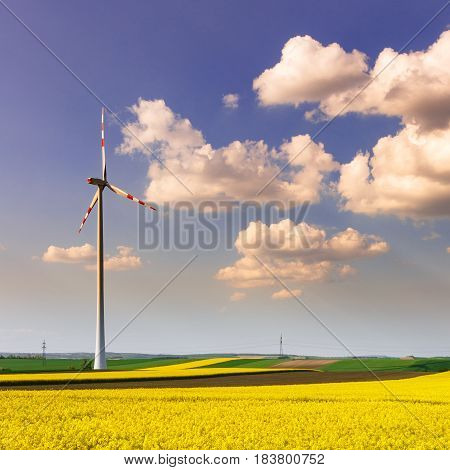 Wind farm with spinning wind turbines amidst agricultural land of intensive rapeseed production in dramatic light. Sustainable and renewable power production ecology and environmental conservation concept.
