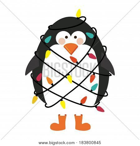 silhouette of penguin with boots and involved in cord lights christmas vector illustration