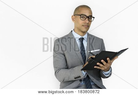 African Descent Business Man Notebook Concept