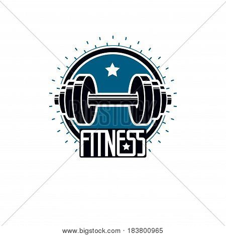 Logotype for heavyweight gym or fitness sport gymnasium retro style vector emblem. With barbell.