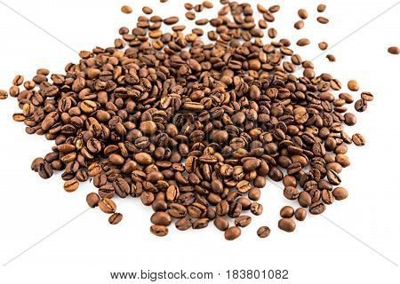 Heap Of Aromatic Roasted Coffee Beans Isolated On White