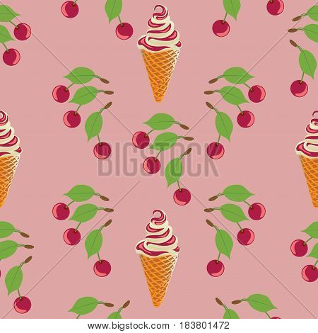 Cherries and ice cream. Seamless pattern on a pink background. Design for textiles, tapestries, packaging, bags, purse.