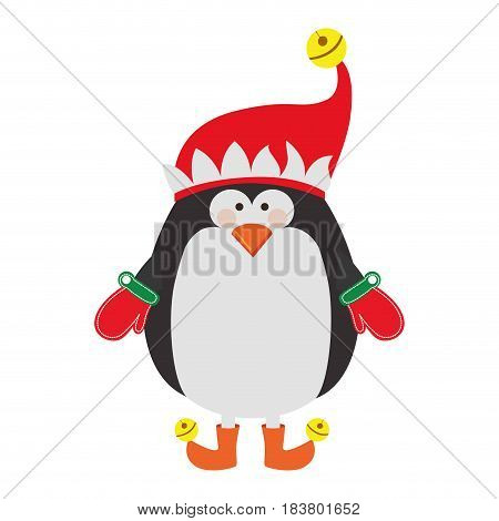 silhouette of penguin with boots and gloves and christmas hat vector illustration