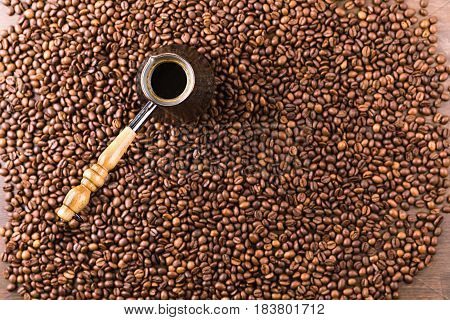 Top View Of Aromatic Coffee Beans And Turk