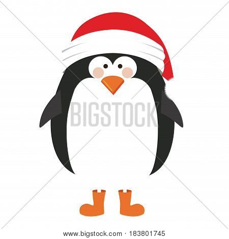 silhouette of penguin with boots and christmas hat vector illustration