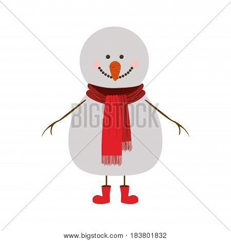 silhouette of snowman with red scarf and boots vector illustration