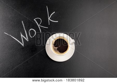 Top View Of Coffee Mug Steam And Work Lettering Isolated On Black