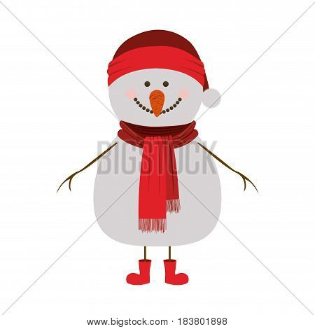 silhouette of snowman with red cap and scarf and boots vector illustration