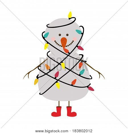 silhouette of snowman with red boots and tangled in cord lights christmas vector illustration