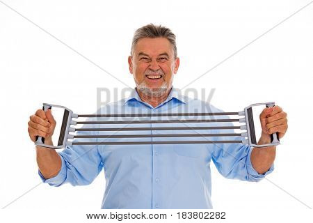 Senior man with rubber exercise bands
