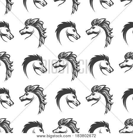 Animalistic seamless pattern with engrawing horses heads on white background