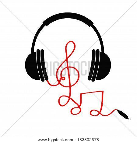 Headphones with treble clef note red cord. Music Card. Flat design icon. White background Isolated Vector illustration
