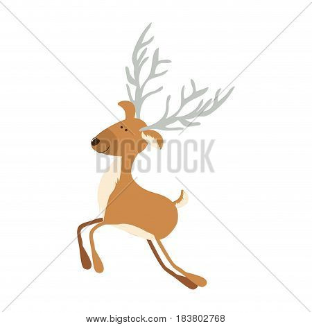 silhouette caricature color of funny reindeer jumping with gray horns vector illustration poster
