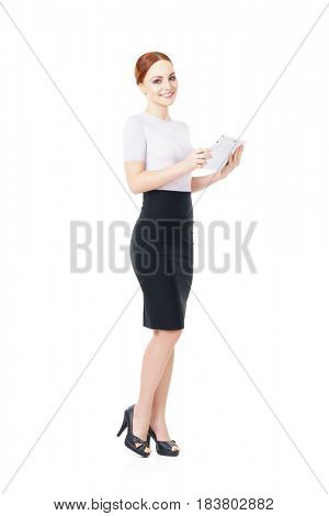 Young, confident, successful and beautiful business woman with the tablet computer isolated on white. Occupation, career, job concept.