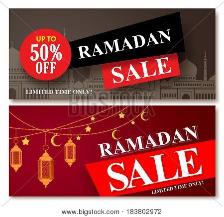 Ramadan sale vector banner designs set for shopping discount promotion with mosque and lantern element in a background. Vector illustration.