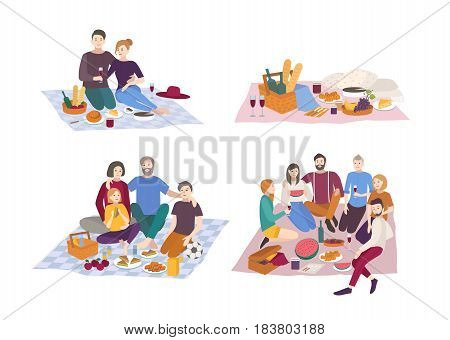 Picnic in park, vector illustration set. Couple, friends, family, outdoors. people recreation scene in flat style