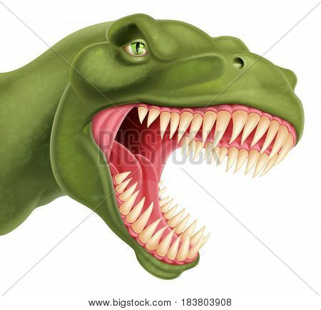 An illustration of a detailed T Rex tyrannosaurus rex dinosaur head