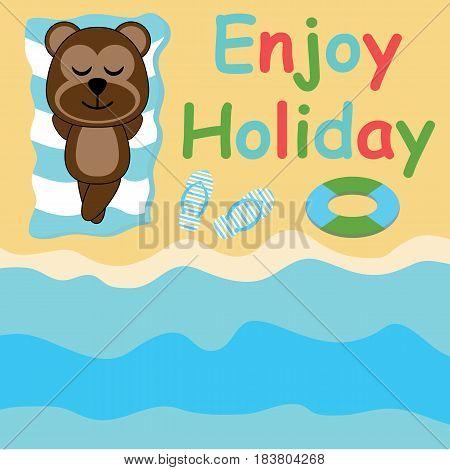 Cute monkey lie down on the beach vector cartoon, Summer postcard, wallpaper, and greeting card, T-shirt design for kids