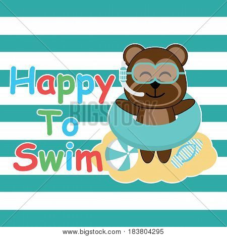 Cute monkey brings swim ring and glasses on striped background vector cartoon, Summer postcard, wallpaper, and greeting card, T-shirt design for kids