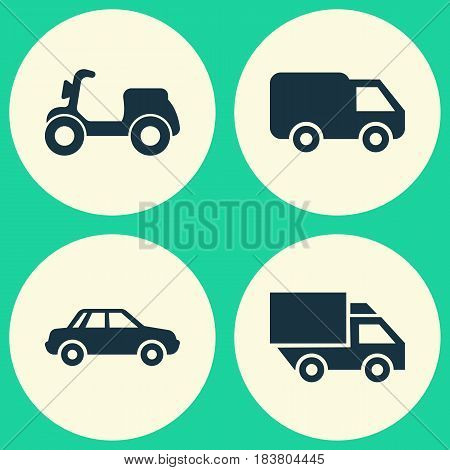 Shipment Icons Set. Collection Of Truck, Skooter, Van And Other Elements. Also Includes Symbols Such As Moped, Auto, Automobile.