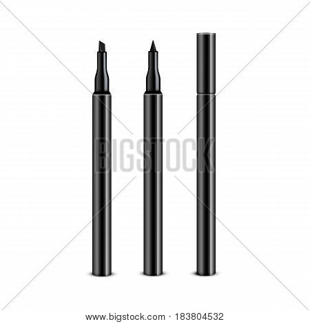 Vector Set of Black Cosmetic Makeup Eyeliner Pencils with without Cap Isolated on White Background