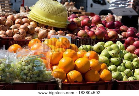 different kind of fruits and vegetables prepare for selling on the local farmer´s market