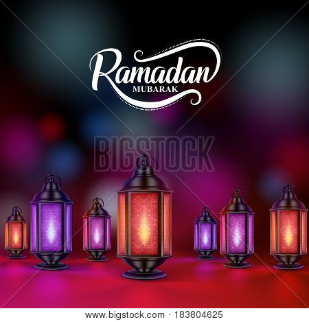Ramadan mubarak vector design with colorful lanterns or fanoos in dark night background. Vector illustration.