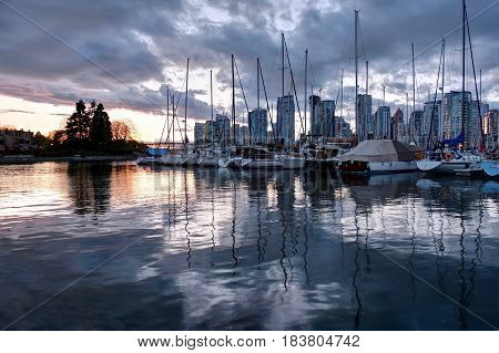 Vancouver skyline and harbor at sunset. British Columbia. Canada.