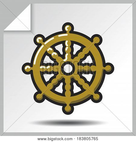 Buddhism icon - dharmachakra. Vector Isolated flat colorful illustration.