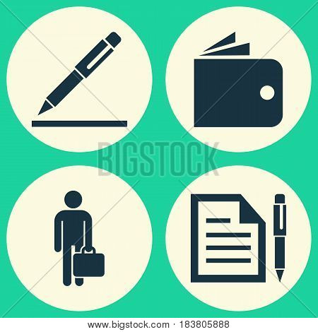 Business Icons Set. Collection Of Pen, Contract, Work Man And Other Elements. Also Includes Symbols Such As Wallet, Pen, Man.