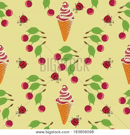 Ice cream, ladybug and cherry. Seamless pattern on yellow background. Design for textiles, tapestries, packaging, bags, goods for children.