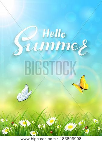 Sunny summer day and blue sky background with lettering Hello Summer, butterflies flying above the grass and flowers, illustration.